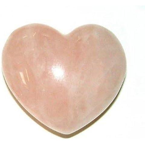 A forma di cuore, con pietre di quarzo rosa, lunghezza 3 cm - Quarzo Rosa Cuore