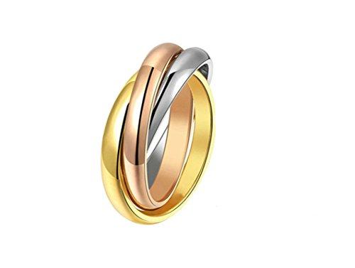 Jasmineees Schmuck Damen Ring,Runde Form Dreifarbig Farbig Drei Ring Edelstahl Trauringe Ehering Verlobungsringe für Damen Silber Rose Gold Größe (Kostüme Ungewöhnliche Paare)