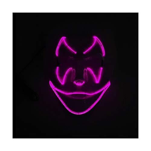 YOIO LED-Maske Fledermaus-Smiley-Party-Party EL Kaltes Licht glühen Maske, Rosa