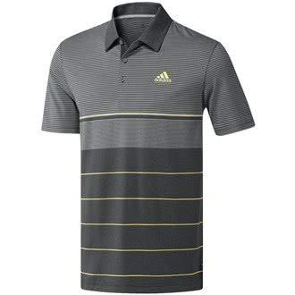 adidas Herren Ultimate 365 Heather Stripe Polo Poloshirt, Grau (Gris Oscuro/Amarillo Dq2228), Large