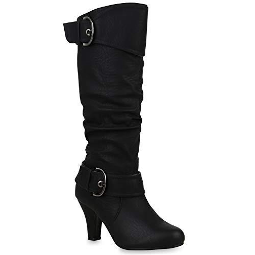 Warm Gefütterte Stiefel Damen Winter Boots Elegante Schnallen Trichterabsatz Wildleder-Optik Booties 42738 Schwarz Schnallen 36 Flandell