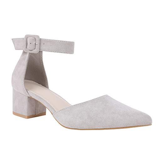 Damen Blockabsatz Mary Janes Schuhe Knöchelriemchen Wies Wildleder Pumps Mid Heel Geschlossener Zeh Sommerschuhe - Heel Mary Jane Pump
