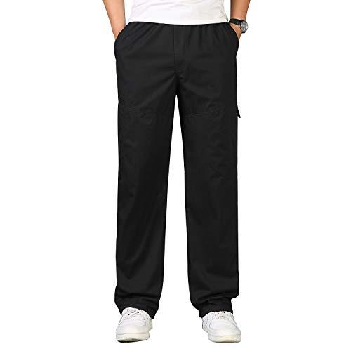 ZOEREA Pantalones Hombres Bolsillos Laterales Cintura