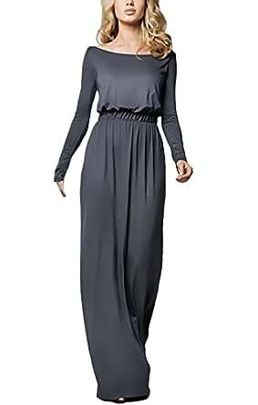 HaiDean Abendkleid Damen Elegant Langarm Rundhals ...