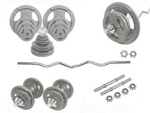Grip-Set 67,0 Kg SZ-Hantelstange, Kurzhanteln und Hantelscheiben (Hammerschlag) 30/31mm -