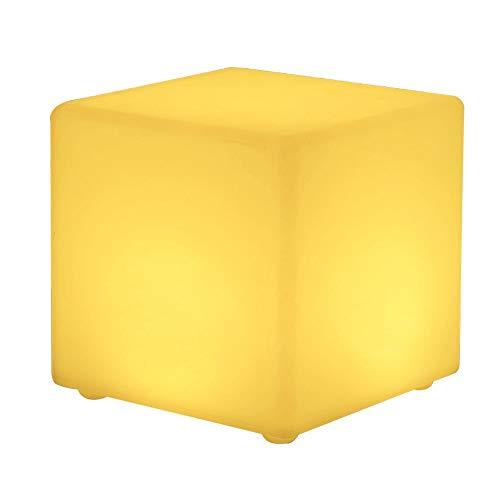 Paddia LED Wasserdichte Würfel Licht Hocker Farbwechsel Stimmung Lampe Outdoor Garten Party Bar Möbel Sitz Stuhl Tisch Boden Einstellbar RGB Akku Fernbedienung (Größe : 43 * 43 * 43cm) -