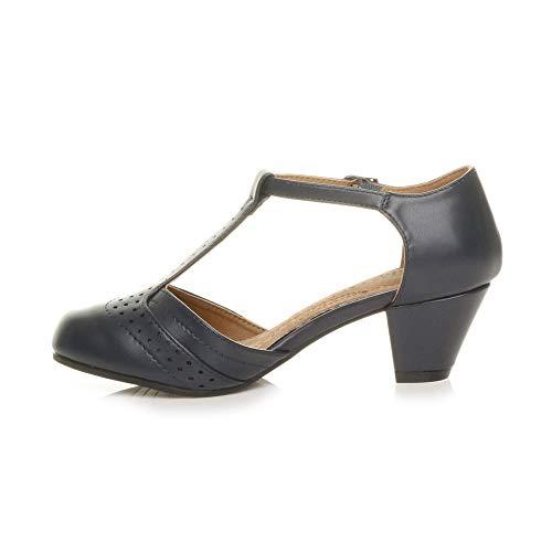 Damen Mitte Blockabsatz T-Riemen Ausgeschnitten Brogues Pumps Sandalen Größe 7 40 - 3