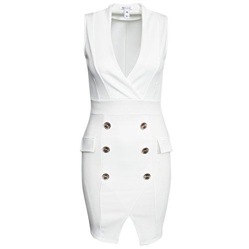 M-Queen Femmes D'affaires Col V Robes de Cocktail Mariage Parti Formel Moulante Crayon Marine Dress Blanc