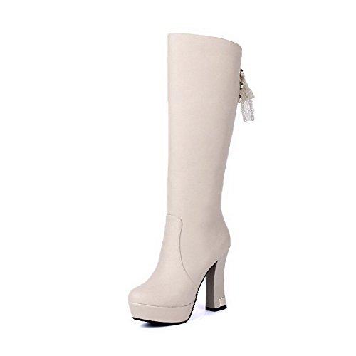 AgooLar Damen Mitte-Spitze Rein Reißverschluss Rund Zehe Hoher Absatz Stiefel, Aprikosen Farbe, 36