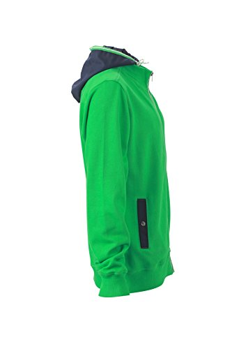 James & Nicholson Herren Hooded Jacket Sweatshirt Grün (Fern-Green/Navy)