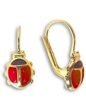 Ohrringe mit Marienkäfer rot aus echt 14 Karat Gold 585 (Artikel 810065)