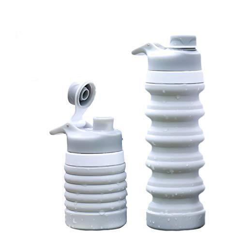 Weisika Faltbare Wasserflasche Silikon Wasserflasche Tragbar Leicht Anti-Leckage BPA Frei Medizinisc (Grau)