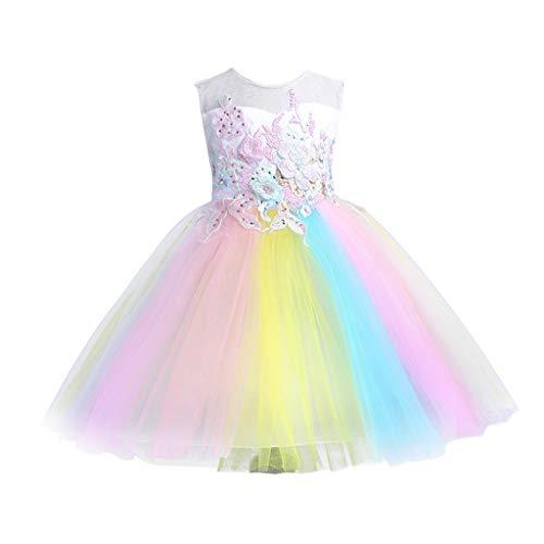 RYTEJFES Prinzessin Rock Kleider Mädchen Tüll Spitze Festzug Kleid Brautkleid Ärmellos Sweet Abendkleid Sommer Ballettkleid Prom Ballkleid