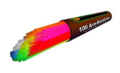 100 Premium Arm-Knicklichter KNALLBUNT. 7-farbiges Komplett-Set NEU jetzt mit neuen TopFlex Verbindern und dreifach spezial Verbindern gratis - Komplett-Set mit 204 Teilen - Fabrikfrische Qualitätsware - seit 12 Jahren in Markenqualität - unter eigenem
