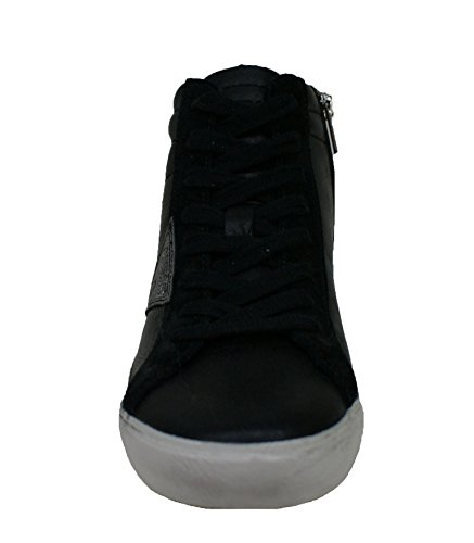 Guess Sneaker Donna Holly Stivaletto Zeppa Rialzo Cm 3 Lea Black Black