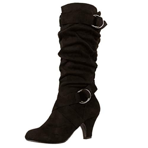 Damen Stiefel,❤️Binggong Damen Retro Cross Strap Buckle Schuhe Round-Toe Warm Gehaltene Stiefel