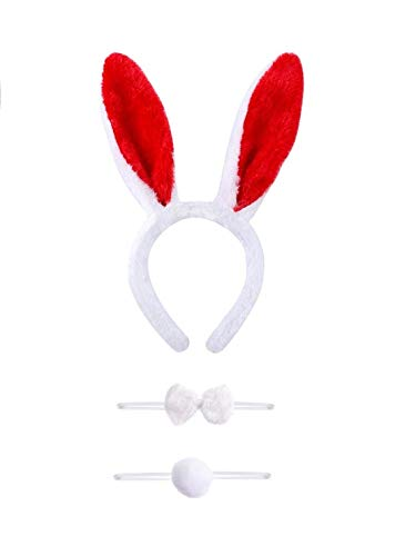 Black Tail Kostüm Bunny - VADOO Bunny Costume Set with Headband Bow Tail for Kids Adult Party Cosplay Christmas Costume 3 Pieces