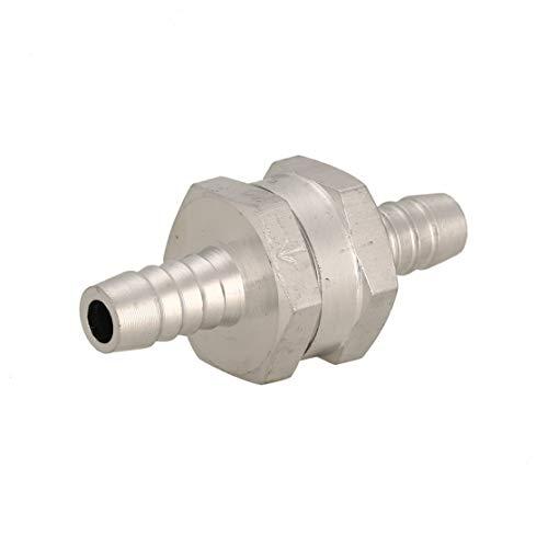 1Pc Valvola di ritegno in alluminio 8mm Combustibile antiriflusso per valvole di ritegno in linea senza ritorno per auto Carburatore Kaemma (Colore: argento)