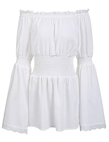 Trudge Damen Schulterfrei Vintage Bluse Lange Ärmel Spitze Rüschen Smocked Taille Boho Tops Shirts Frühling Herbst Winter (L, Weiß) -