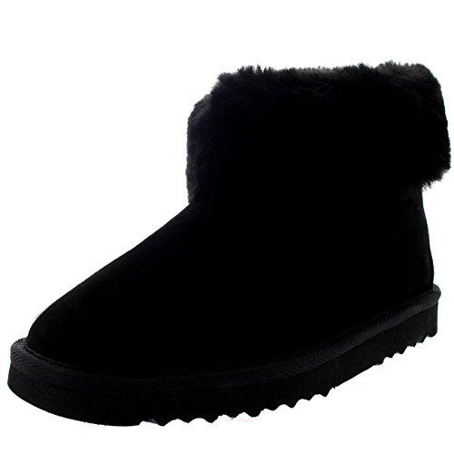 Polar Damen Echten Australischen Schaffell Dicke Manschette Pelz Gefüttert Gummi Sole Pantoffeln Stiefel - Schwarz - UK3/EU36 - YC0417 -