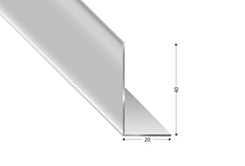 Alu-Winkel ungleischenklig, silber eloxiert, 40x20x2mm, 200cm