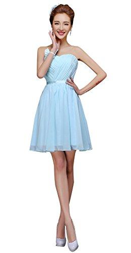 drasawee robe bustier courte en mousseline de soie robe de soirée Junior Homecoming robes Bleu