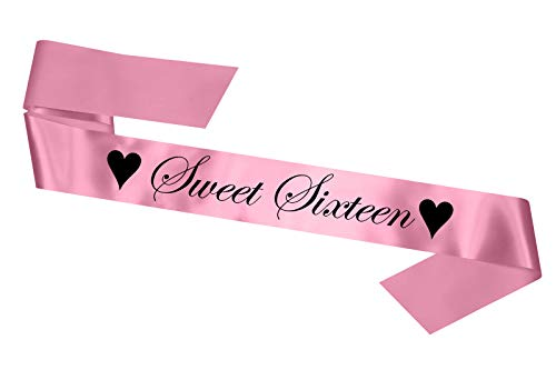 Sweet Sixteen Birthday Sash: 16th Party Gift 16 Sixteenth - SB1002 - Yellow