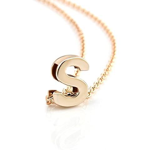 dgzls placcato oro iniziale Collana con ciondolo lettera dell' alfabeto A-Z