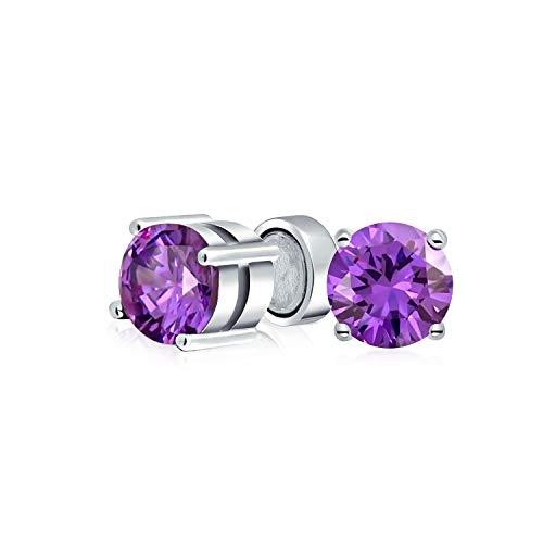 1.25Ct Runde Purple CZ Simulierten Amethyst Magnetische Solitär Ohrclips Ohrringe Für Damen Nicht Durchbohrt 925 Silber