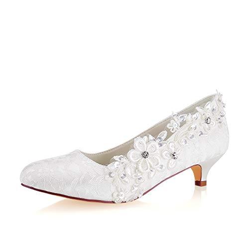 Emily Bridal Lace Mutter Schuhe Round Toe Hochzeitsschuhe Elfenbein Brautschuhe (EU41, Elfenbein) Lace Round Toe Pumps