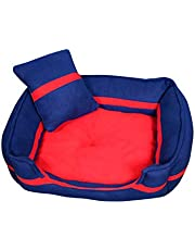 Akshara Dog/Cat Ultra Soft Red & Blue Reversible with 2 Extra Pillows Sofas (S)