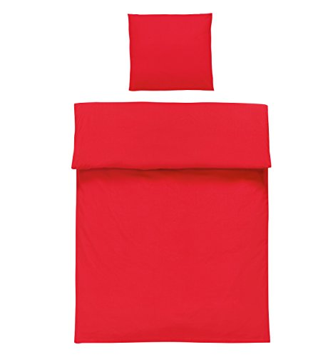 Cotton bed linen 2 pieces Renforcé Uni 135×200 cm 80×80 cm Zip closure, 100 % Cotton, red, 135 x 200 cm + 80 x 80 cm