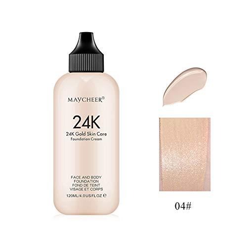 Allbestaye 24K Liquid Face Foundation Moisturizing Long-Lasting Makeup Face Coverage Natural Concealer Oil-controlling Lightfeel Cream -