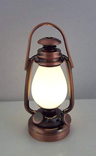 Puppenhaus Miniatur 1:12 LED Batterie Warmes Licht Viktorianische Kupfer Öllampe -