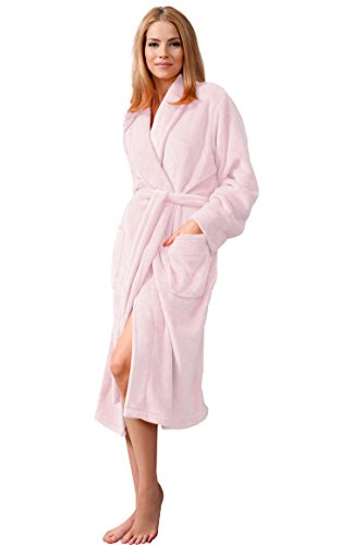 Envie Damen Bademantel mit Schalkragen light pink L/XL