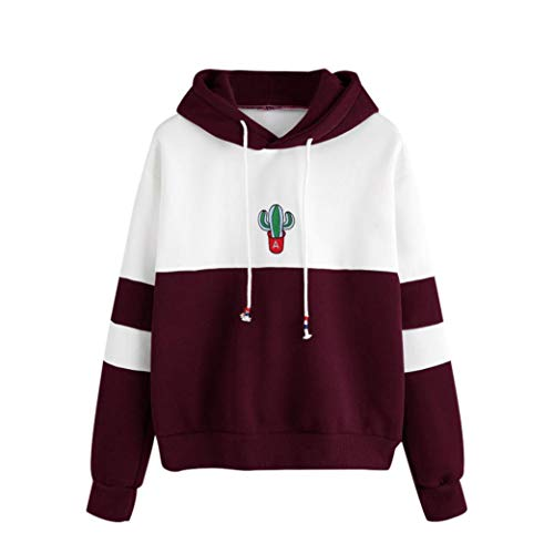 iHENGH Sweatshirt, Damen Long Sleeve Cactus Print Hoodie Sweatshirt Kapuzen Pullover Tops Bluse ()
