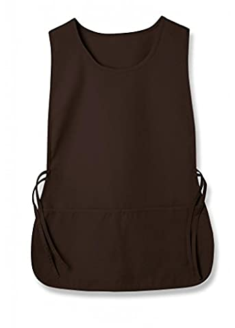 Adar Unisex Tabard (Tabbard) Apron 2 Pocket/ Adjustable Tie For Home Work Cleaning And Kitchen (Available in 36 colors) - 702 - Chocolate Brown -