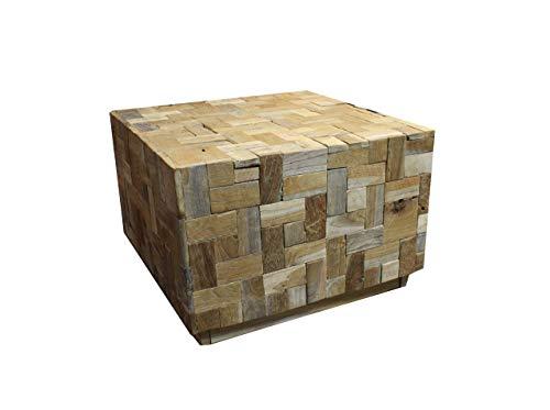 Meubletmoi Table Basse carré en Teck recyclé 60 cm - Design Contemporain Chalet Chic - NAOKI