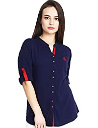 Mitaha Navy Blue Red Beige Black Shirt Women Girls Embroidered Rayon Cotton Top/Shirts for Dailywear Casual Women/Girls Tops
