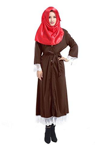 GladThink Frauen Muslim Chiffon Kaftan Islamische Maxi Spitze-Kleid Kaffee