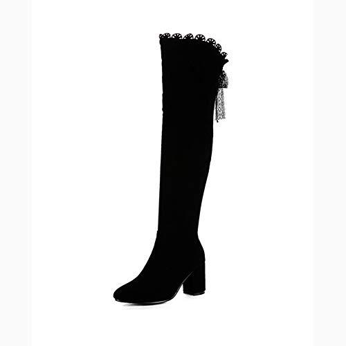 NNshoes Wildleder Damen Overknee Stiefel Elegante Sexy Bequeme Abendschuhe Größe 33-43,Schwarz,42