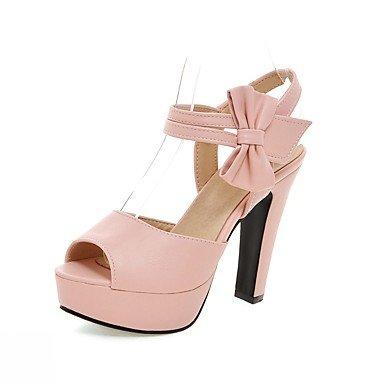 LvYuan Da donna Sandali Finta pelle PU (Poliuretano) Estate Autunno Footing Fiocco Quadrato Nero Beige Viola Rosa 10 - 12 cm beige