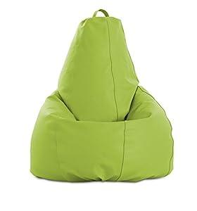 textil: textil-home pera-XL-Pistacho Puf - pera Moldeable XL, Tejido Polipiel, Doble Rep...