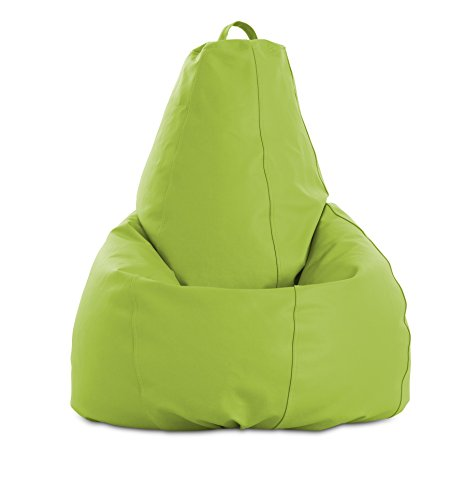 textil-home Pera-XL-Pistacho Puf - Pera Moldeable XL, Tejido Polipiel, Doble Repunte, Pistacho, 80 x 80 x 130 cm