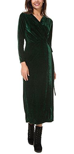 Urban GoCo Damen Samt Wrap V Ausschnitt Lang Partykleid Grün