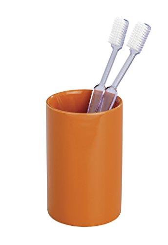 Orange Zahnbürstenhalter (Wenko 19300100  Polaris Orange Zahnputzbecher-/ Zahnbürstenhalter, für Zahnbürste und Zahnpasta, Keramik, 7 x 11 x 7 cm, Orange)