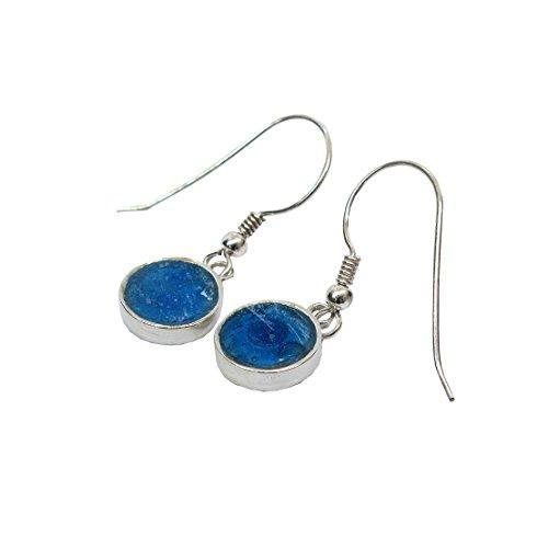 Runde klassisch blaue Einhänger Ohrringe 925 Sterling Silber | funkelnd Damen-Schmuck | antikes römisches Glas vom 2.-4. Jahrhundert | Handwerk-Unikat Retro-Design By Niibuhr Jewelry