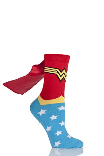 Damen 1 Paar DC Wonder Woman Cape Socken sortiert 4-8 Damen (Wonder Woman Kostüm Bilder)