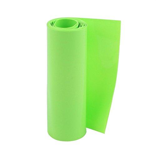 sourcingmap® 100mm flache Breite 1M Länge PVC Schrumpfschlauch Grün für 18650 Batterie de -