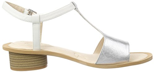 Clarks Sandcastle Ice Damen Slingback Sandalen Silber (White/Silver Lea)
